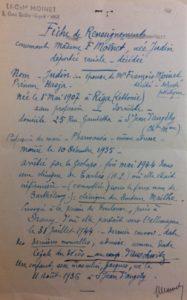 4-409362_Fiche de renseignement du dossier de demande de la mention Mort pour la France de Chasja Moinet formulée par son beau-père, Georges Moinet