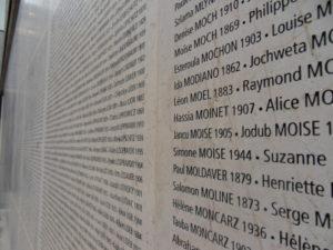 5-Nom de Chasja (écrit Hassia) Moinet gravé sur le mur du Mémorial de la Shoah (Paris)
