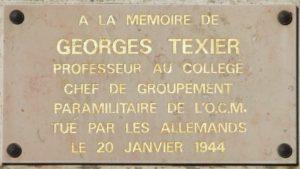 8-Plaque commémorative en mémoire du résistant Georges Texier, chef du réseau OCM