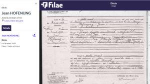 Acte de naissance et de décès de Jean HOFENUNG (1)