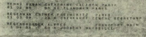 Alfred Regensburger – deportation list