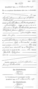 Charlotte Mentzel – certificate of birth