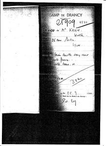 Drancy receipt Walter Kahn