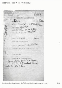 Data sheet Fort Montluc Lyon-arrest Walter and Marthe Kahn July 3, 1944.