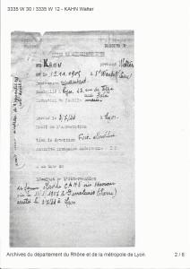 Fiche du Fort Montluc Lyon-arrestation Walter et Marthe Kahn 3.07.1944