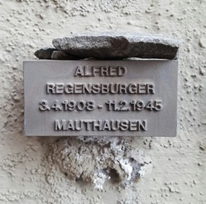 commemorative plague – stone in remembrance of Alfred Regensburger, old Jewish cemetery in Frankfurt am Main