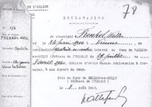 FRENKEL Walter Archives Departementales Allier declaration aout 1940