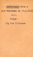 Herbstmann Henri Fryda Allier departmental archives, register of Jews file cart