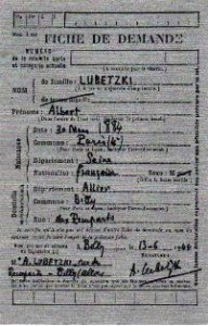Lubetzki Albert Billy Mairie demande carte rationnement