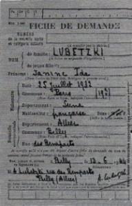 Lubetzki Janine, archive Billy arrivee famille
