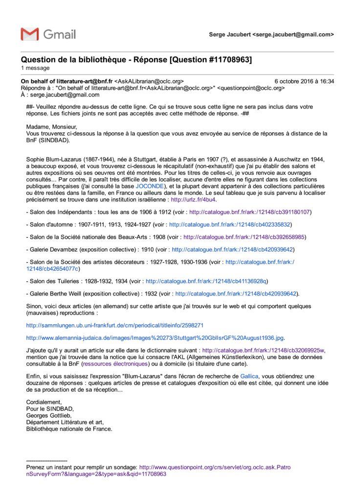thumbnail of BNF sur Sophie Lazarus