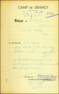 Roland Flacsu Reçu_Drancy
