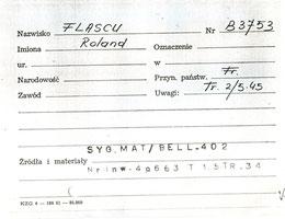 Roland Flacsu Fiche_camp_Auschwitz