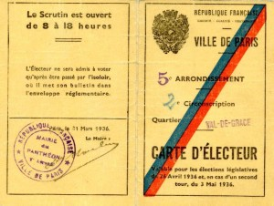 Document 3. Carte electorale Bernard JEIFA. recto