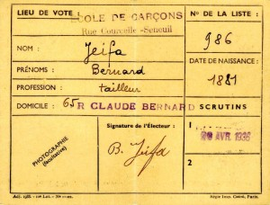 Document 4. Carte electorale Bernard JEIFA. verso