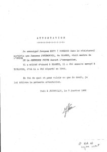 Attestation de Jacques Kott
