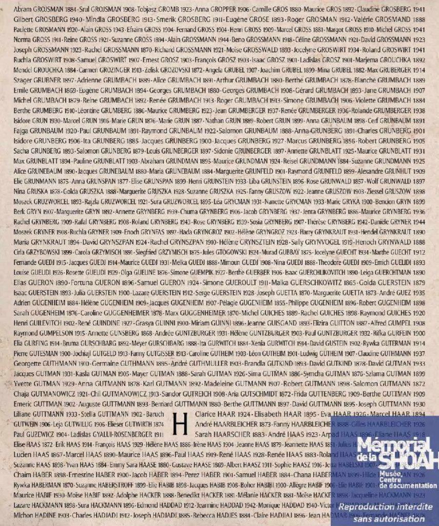 """Płyta, na której upamiętniona została Gołda Gruszka (źródło: Muzeum Pamięci Shoah w Paryżu, """"Ściana nazwisk"""")"""