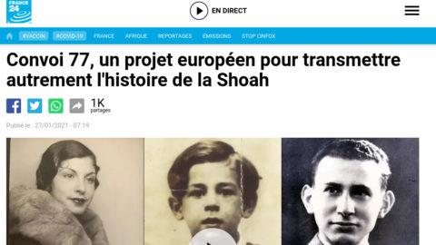 FRANCE 24 – Le projet Convoi 77 à l'honneur pour la journée en mémoire des victimes de la Shoah