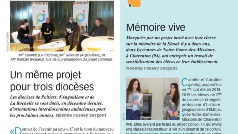 Convoi 77 dans un article du magazine Enseignement Catholique Actualités