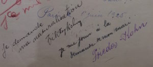 28 – Victor et Frieda Kohn – focus lettre manuscrite – dossier naturalisation – cote BB_11_9644