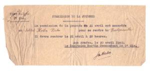 31 – Victor-Kohn-permission21avril1940 – archives familiales