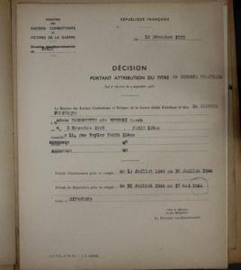 Décision d'attribution du titre de déporté, République française
