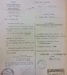 """Inscription de la mention """"Mort pour la France"""" dans l'acte de décès de TIMSIT Yaich – 3 février 1949"""
