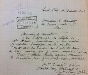 Lettre de Alice TIMSIT à l'attention du Ministre des Anciens Combattants Paris – 1948