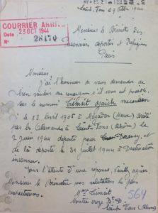 Lettre de Alice TIMSIT adressée au Ministre des Prisonniers et déportés réfugiés à Paris 1944