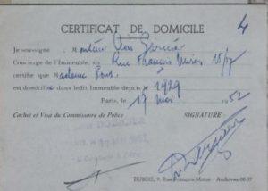 certificat de domicile